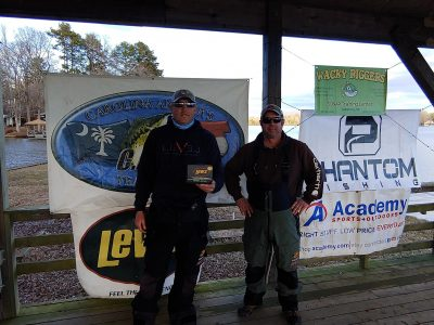 Read more about the article Tournament Results Yadkin High Rock Fall Final Dec 16, 2018 Talbert & Haynes Weigh 1 Bass & Take it All! 6.94 lbs  $2,765.00!