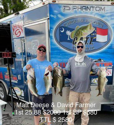 Tournament Results Old North Jordan Lake, NC May 8, 2021